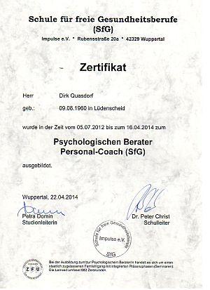Zertifikat   Dina Quasdorf